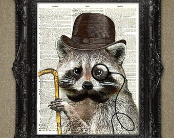 Dictionary art print Raccoon - aristocrat animal illustration upcycled dictionary page art print, Animals dictionary page print.