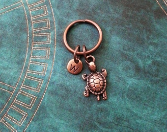 Turtle Keychain VERY SMALL Copper Turtle Keyring Personalized Keychain Baby Turtle Gift Initial Keychain Animal Keychain Bridesmaid Keychain