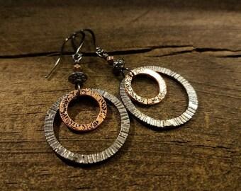 Copper and Black Earrings, Boho Earrings, Hoop Earrings