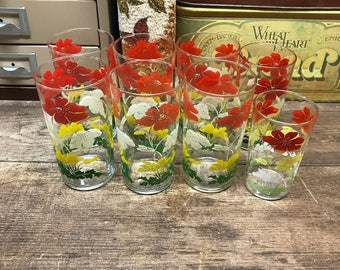 Vintage Glasses Tumblers Floral Set of 8