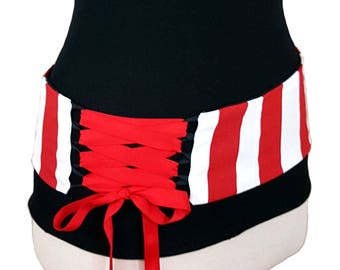 Red Stripe Reversible Belly Dance Corset Style Lace Up Belt / Shaped to Fit Your Hips / Plus Sizes and Steel Boning Available / Custom Belt
