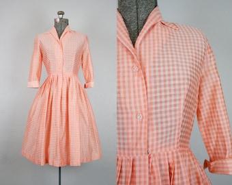 1950's Orange Shirtwaist Day Dress / Size Small