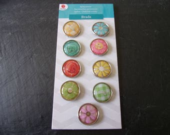 Lot 9 fasteners (brads) Parisian color multicolored 2 cm round