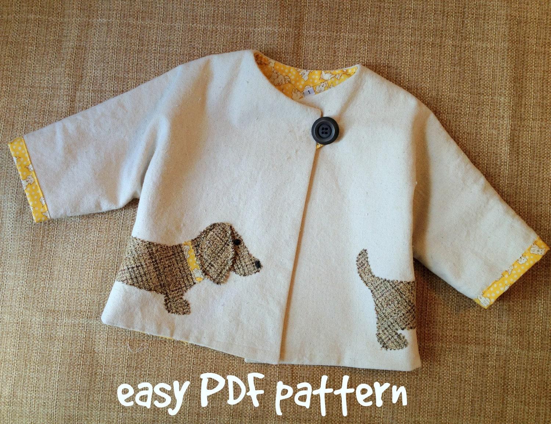 Good dog car coat pdf pattern girl or boy jacket pattern zoom jeuxipadfo Gallery