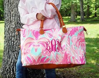 Monogram-Monogrammed-Weekender Tote-Tote Bag-Bag-Duffle Bag-Duffel Bag-Tote Bag Canvas-Weekender Bag-Weekender Bag Woman-Shoulder Bag-Canvas