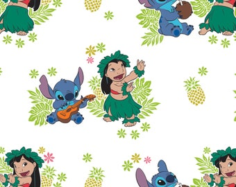Disney Lilo & Stitch Ohana White Premium 100% Cotton fabric  (CA39)
