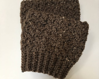 Brown Tweed Crochet Boot Toppers, Textured Boot Cuffs, Fall Fashion, Boot Accessories, Women's Boot Cuffs, Boot Socks, Leg Warmers, Gifts