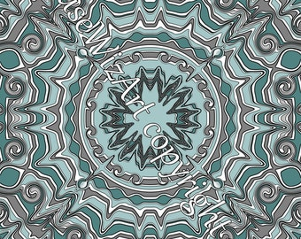 medallion download blue wall art printable boho - MEDALLIONMIA MINERAL TEAL