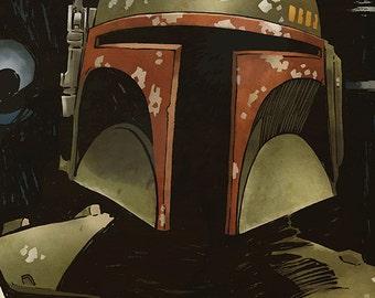 Star Wars - Boba Fett A4 colour art print Empire Strikes Back Bounty Hunter