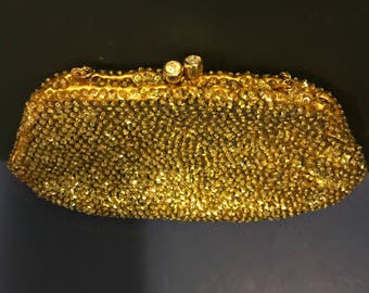 Vintage Gold Sequin and Rhinestones Evening Purse Wedding Purse  Hollywood Regency Style Holiday Evening Bag Prom Made in Hong Kong