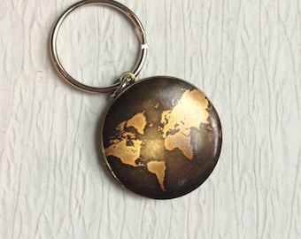 World map keychain etsy world globe locket keychain round brass locket vintage map key chain locket for gumiabroncs Image collections