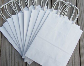 20 Pack - White Kraft Paper Handle Bags (8 x 4 x 10)