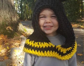 Bumble Bee Hood: Bee Costume, Toddler Costume, Hooded Scarf, Cowl, Hood Costume, Montessori, Confidence Hoods, Character, Social Skills