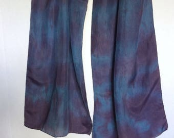 Indigo/Cochineal dyed Habotai Silk Scarf - Natural Dyes - Hand-dyed