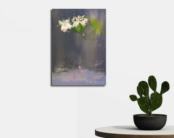 Small painting of flowers in vase, Original oil painting, Abstract art canvas painting, Floral artwork by Yuri Pysar