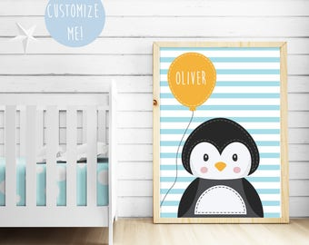 Penguin Balloon Name Nursery Print, Customize your own. Choose your own background pattern, colour and name!