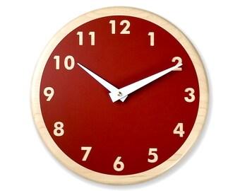 Rusty red wall clock. Modern wall clock. Kitchen wall clock. Simple wall clock. Wood wall clock. 10 inch wall clock. CL5024