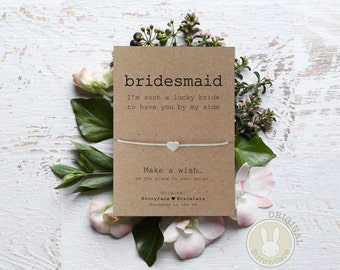 BRIDESMAID Will You Be My Lucky bride message card & small silver or gold bead waxed cotton cord wish bracelet engagement wedding Thank you