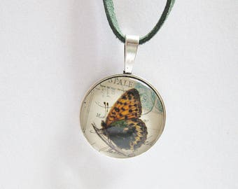 Necklace, Cabochonschmuck, necklace with pendant, gifts for women, butterflies, imitation leather