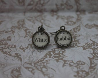 White Rabbit Earrings ~Alice's Adventures In Wonderland ~ Lewis Carroll