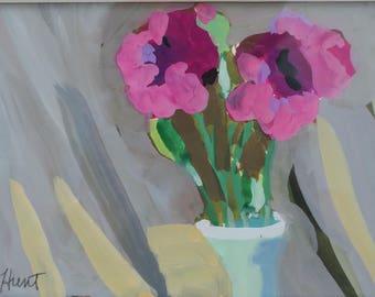 watercolor still life painting, gouache, purple roses, erotic, sensual flowers, gray background, green jadite vase, small painting, original