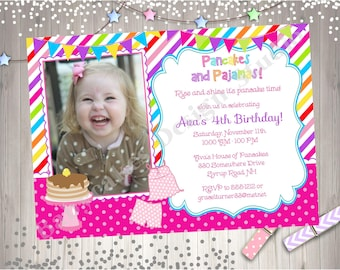 Pancakes and Pajama Birthday Party Invitation Invite Photo Invitation Rainbow Pancake Party Printable Invitation