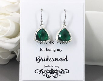 Clearance Emerald Earrings Drop Earrings Bridesmaid Earrings Bridesmaid Gift Jewelry Gift for Her Gift under 10 Emerald Dangles