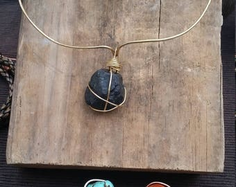 HAMMERED BRASS CHOKER w/Blk Tourmaline