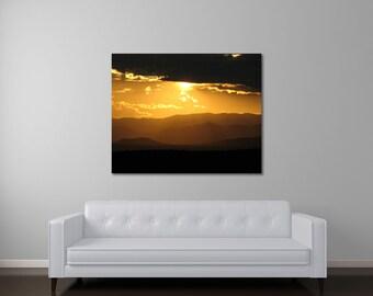 New Mexico Sunset Art, Modern Art, Contemporary Photography, Large Wall Art, Landscape Canvas Art, Gold Art, Mountain Photography