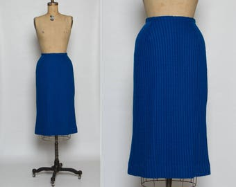 vintage 1950s knit skirt | cobalt blue | Jantzen