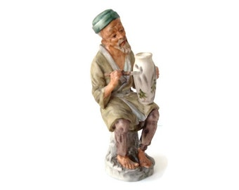 Vintage Asian Painter - Asian Ceramic Figurine - Hand Painted Bisque Figurine