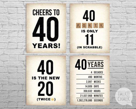40th Birthday Printable Sign Pack 40th Birthday Digital