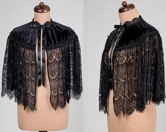 Gothic Victorian velvet and lace CAPE, cloak, Vampire Elegant Burlesque black, green, red, cobalt,  New Year's Eve, prom, vampire costume