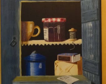 decorative painting trompe l'oeil Cabinet of Grandma's kitchen items