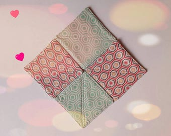 Modern Fabric Coasters Pink and Teal  Set of 4 Quilted Coasters