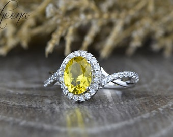 Oval Halo Yellow Sapphire Engagement Ring in 14k White Gold,8x6mm Oval Halo Twisted Sapphire Diamond Ring,Birthstone Promise Ring bySapheena