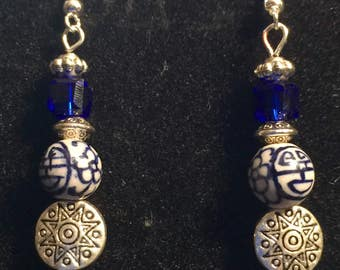 Cobalt Blue and Silver beaded earrings