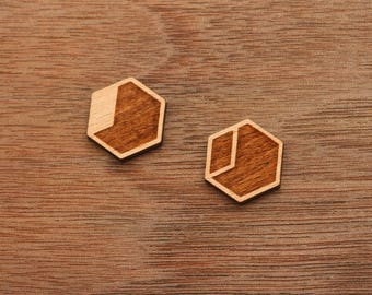 8 pcs Geometric Hexagon Minimalist Wood Charm, Carved, Engraved,Cabochons (WC 475)