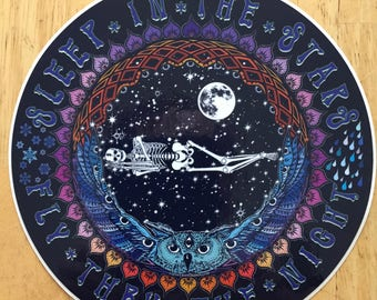 "Sleep in the Stars high quality full color 6"" vinyl sticker Grateful Dead and Company Jerry Garcia Phish Psychedelic Owl Art Bird Song"