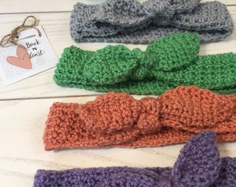 Retro Tied Crochet Headband, Baby-Adult Sizes