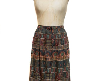 vintage 1970's mixed print skirt / Ralph Creation / wool blend / fall autumnal / women's vintage skirt / tag size 38