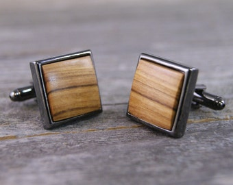 Cufflinks: Bethlehem Holy Land Olivewood in Square Hardware