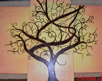 Tree Painting - Acrylic Mixed Media Painting - OOAK - Unique Henna Art