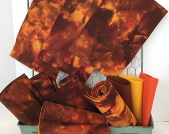 Hand Dyed Wool, Pure Merino, Non Woven Wool, Hand Dyed Felt, Campfire
