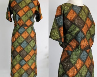 Vintage 1950s Wiggle Dress Harlequin Print / Bullock's Wilshire Casual Shops Dress / Short Sleeve Green Blue Orange / 50s Day Dress