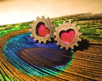 Industrial Gear Heart Stud Earrings Valentines Day Pink and Silver