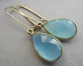 14K Gold Filled Earrings/ Chalcedony Earrings/ Gold filled wire Earrings/Aqua Blue Chalcedony Earrings/ Minimalist Earrings