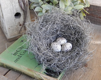 Bird Nest Farmhouse Decor Speckled Eggs Rustic Decoration