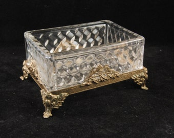 Vintage glass and metal jewelry box