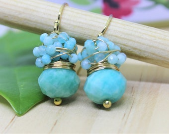 Faceted Russian Amazonite earrings surrounded with tiny 2 mm Amazonite Stones. Gold filled earrings, Blue earrings, simple earrings